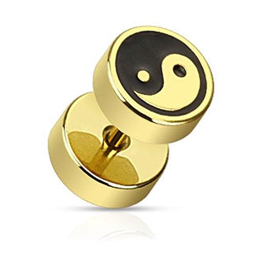 EXACT4U - Fake-Plug mit Yin-Yang-Logo in Gold-Look (Chirurgenstahl 316L) piercing ohr plug