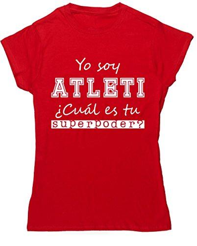 HippoWarehouse Soy del Atleti, ¿Cuál es tu Superpoder? camiseta manga corta ajustada para mujer
