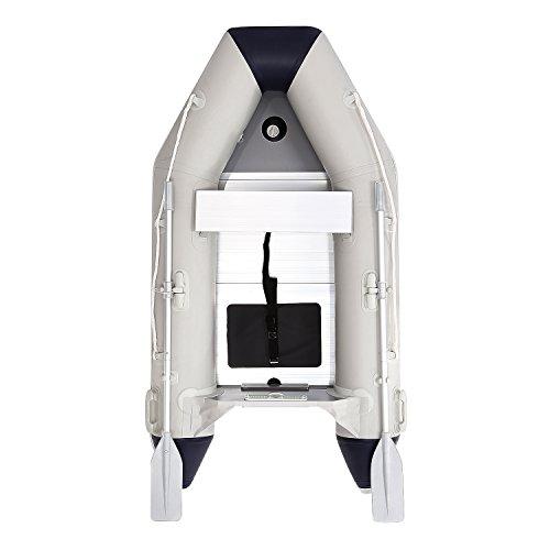 Set de Barco Hinchable y Remos Bote Inflable Resistente para Pesca 3 Cámaras de Aire Separadas V Forma para 2 Personas Carga Max. 280kg, 2.3 x 1.26 x 0.33M