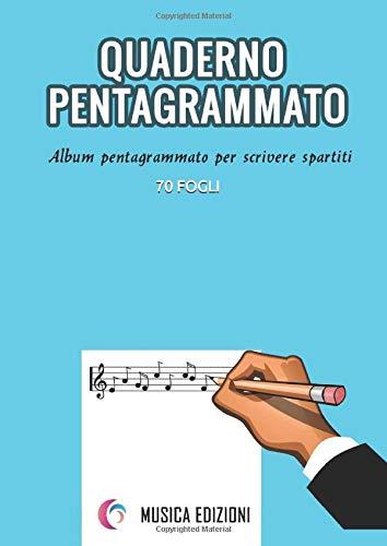 Quaderno pentagraato grande A4. 70 Fogli pentagraati vuoti per scrivere musica Album pentagraato per scrivere spartiti