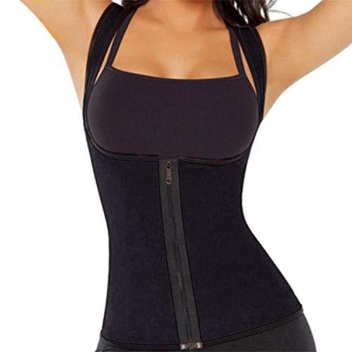 JEEZAO Faja Reductora Mujer Camisetas Sauna Adelgazantes para Mujer Chaleco de Neopreno Corset para Sudoración, Quema Grasa, Faja Abdomen (Negro,XL)