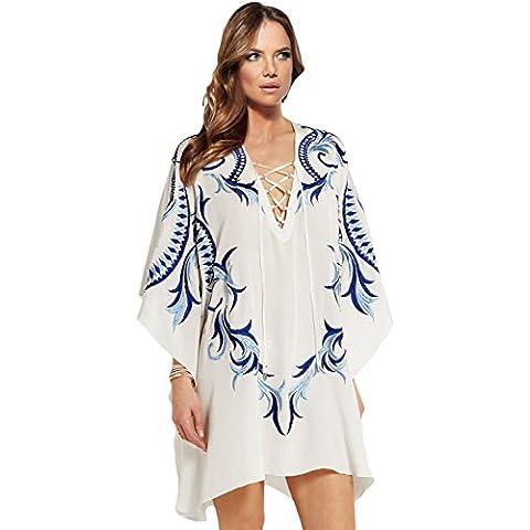 Nuovo donna bianco & blu ricamato chiffon spiaggia caftano coprire estate indossare caftano taglia UK 10–12EU 38–40
