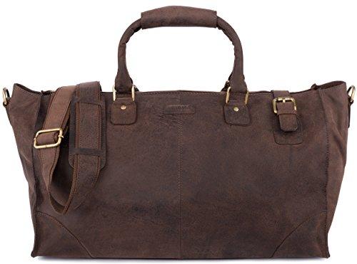 LEABAGS Durham Reisetasche aus echtem Büffel-Leder im Vintagestyle - Muskat