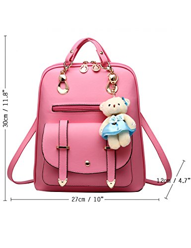 Menschwear PU Zaino Satchel Daypack sacchetto di scuola Rosa Rosa