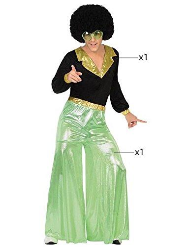 ATOSA 26389 - Disco Fieber, grün, Herrenkostüm, Größe 52/54, schwarz/grün (Disco Fieber Erwachsene Kostüme)