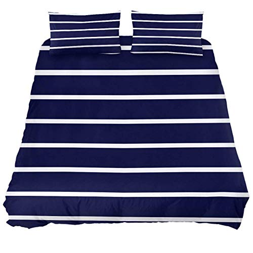 MUMIMI 3-Piece Microfiber Bedding Set (1 Cover 2 Pillowcase) with Zip: Duvet Cover Pillow Shams Bed Quilt Cover,Lightweight and Soft -Queen/King,Navy White Stripe Print - Quilt Navy King California