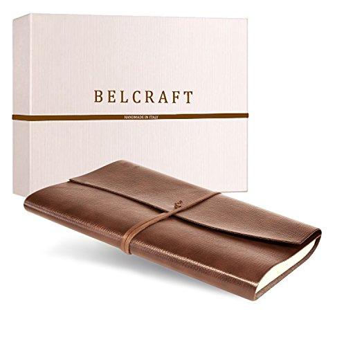 Tivoli A4 großes Notizbuch aus recyceltem Leder, Handgearbeitet in klassischem Italienischem Stil, Geschenkschachtel inklusive, Tagebuch A4 (21x30 cm) Hellbraun