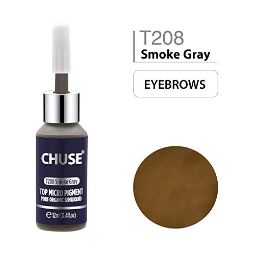 CHUSE T208 Gris fumée Couleur cosmétique permanente d'encre de tatouage de maquillage de micro-colorant de Microblading SGS passé, DermaTest 12ml (0.4fl.oz)