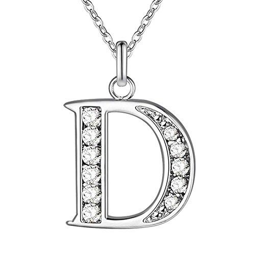Name Initiale Alphabet Buchstaben A-Z 925 Silber Kette+Anhänger Halskette für Damen/Mädchen Geschenke (D) (Initial Halskette Kind)