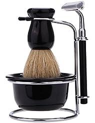 Abody Coffret de rasage 4 en 1 pour homme avec rasoir manuel 5lames/support en acier inoxydable/blaireau/bol