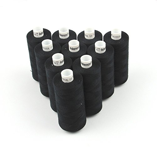 10x 1.000m ACKERMANN UNIVERSAL NÄHGARN, Stärke 120, Qualitätsgarn, Nähmaschinengarn, Overlock Garn, Garn für Overlock-Nähmaschinen (799 Schwarz)