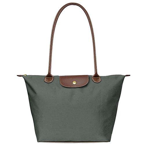 Bekilole Damen Tragetasche Nylon Reise Schultertasche Strandtaschen Gr. Medium, Long Handle Gray (Medium Nylon-tasche)