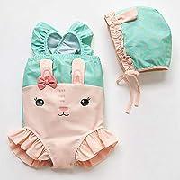 QianZhe Traje De Baño para Niños Princesa Femenina Traje De Baño Siamés 2pcs Conejo Bikini Green- 120cm(120cm【5T】)