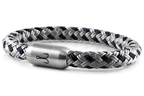 Fischers Fritze Segeltau Armband MAKRELE 2.0' Silbergrau Marineblau, 21.0