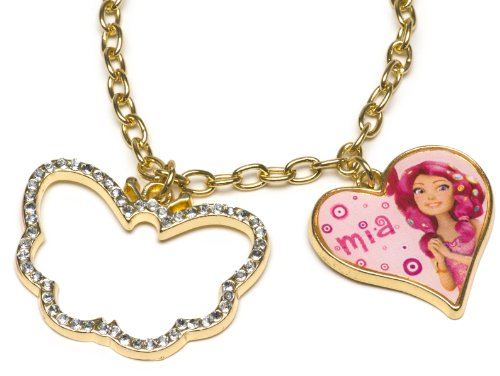 Mia and Me 118070 - Halskettchen mit Herz- und Schmetterlinganhänger mit Strass - auf backercard, 8 x 20 cm