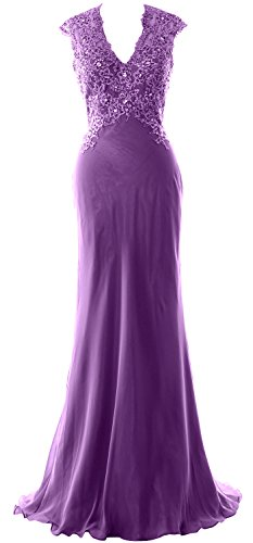 MACloth Elegant V Neck Evening Formal Gown Lace ChiffonMother of the Bride Dress purple