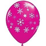 5x Globos de Copos de Nieve Navidad Color Rosa Fuerte - 28cm - Hechos de Qualatex