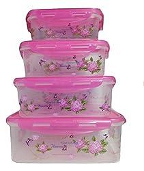 Bella Fiero Airtight Multi-Purpose Storage Container Set Of 4 (Pink)