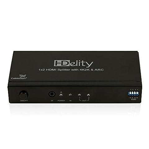 Separateur HDMI 1x2 HDelity 4k2k avec audio - Amplificateur Actif - Ultra HD, UHD, 4k, 2160p, HDR. ARC et 3D actif. Pour PS4/3, Xbox One/360, DVD, BluRay, HDTV, Jeux et