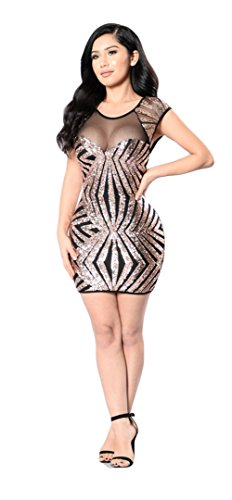 Femmes Sexy Geometric Paillettes Gauze Stitching Clubwear Package Hip Robe Jupe Or