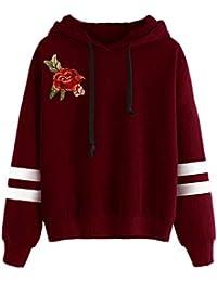 Sudadera Mujer Tumblr Otoño e Invierno Y Manga Larga Bordado Rosa Cuello Redondo Sudaderas con Capucha Niñas Camisa De Entrenamiento…