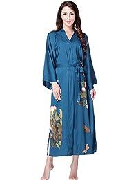 ArtiDeco Women s Kimono Dressing Gown Satin Kimono Robe Long Chinese  Japanese Style for Nightwear Girl s Bonding 5303b8d72