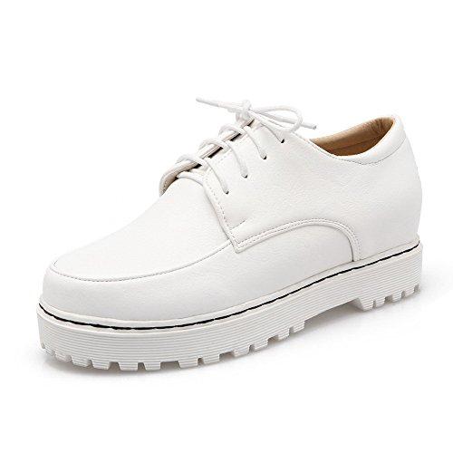 AgooLar Femme Pu Cuir Couleur Unie Lacet Rond à Talon Correct Chaussures Légeres Blanc
