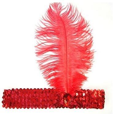 Op. H rot Feder Haarband Make-up Kostüm Requisiten -