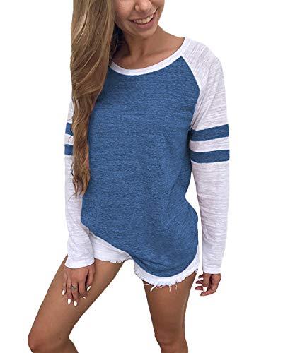 YOINS Pulli Damen Langarmshirt Sweatshirt mit Streifen Rundhals Ausschnitt Oversize Hemd Jumper Bluse Tops Streifen-dunkelblau EU32-34