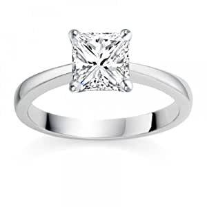 1/4 Carat F/VS1 Princess Certified Diamond Solitaire Engagement Ring in 18k White Gold