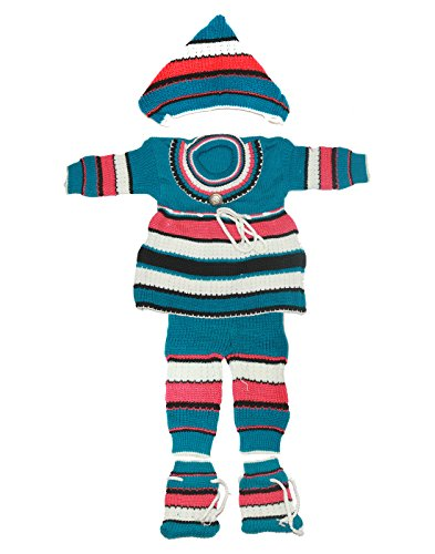 Babeezworld Baby Girl's Woollen Knitted Front Open Full Sleeves Cardigan Jhabla Top Sweater & Full Length Baby Woolen Pant Pajamas With Elasticated Waist & Cap Booties Socks Winter Wear Suit Set (Baby Pack Kids 4 pcs Set)  available at amazon for Rs.399