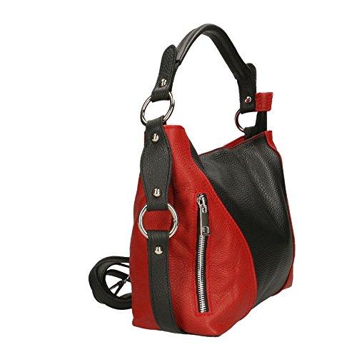 Chicca Borse Clutch Borsetta Borsa a Spalla da Donna con Tracolla in Vera Pelle Made in Italy - 23x14x8 Cm Nero - Rosso
