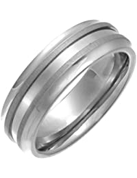Theia Ring Flach Court Doppel geprägter Matt 7 mm Titan Gr. 50 (15.9)