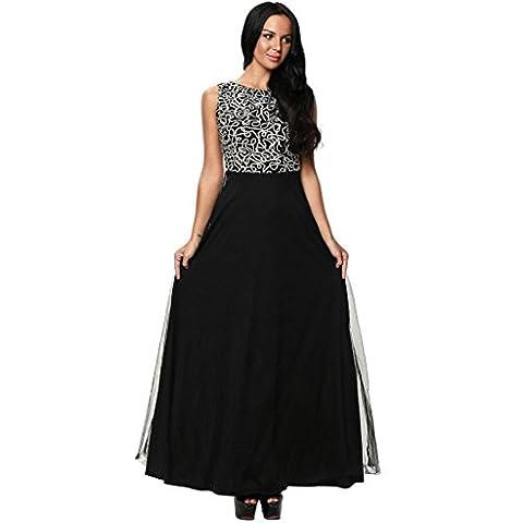 Robe de soirée en tulle brodé dentelle manches col rond dos robe robe , black , s
