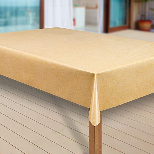 laro Wachstuch-Tischdecke Abwaschbar Garten-Tischdecke Wachstischdecke PVC Plastik-Tischdecken Eckig Meterware Wasserabweisend Abwischbar |27|, Größe:110x140 cm, Muster:Uni gelb meliert
