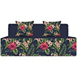 Aart Store 4X6 Feet Two Seater Printed Mechanism Type Fold Out Sofa Cum Bed for Living Room and Home with Two Cushion- Perfect for Guests