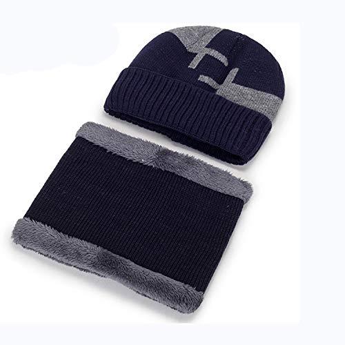 Nosterappou Casquette pour Hommes Baotou Bonnet de Coton Bonnet d'hiver Jeunesse Masculine mâle Hiver Chaud Bonnet de Laine Plus Velours épais Bonnet Capuchon (Couleur : Bleu)