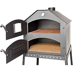 acerto 40504 Four à pizza professionnel pour le jardin - 64x63x68 cm * brique réfractaire * thermomètre * vanne d'étranglement | four à pizza avec chambre double | four à gâteau avec grille