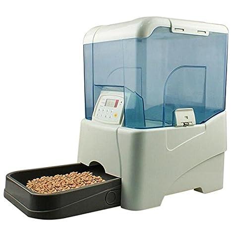 JiaYue 10L Capacité Alimenté par Batterie Pet Distributeurs Automatiques de Nourriture avec écran LCD pour Chien Alimentateur Blanc , Blanc , 26*25*37CM