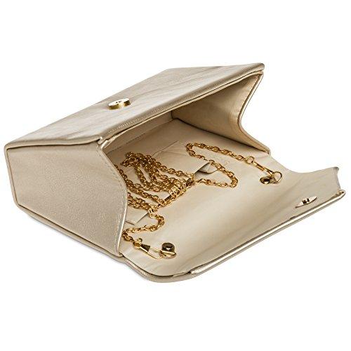 CASPAR TA362 elegante Damen Envelope Clutch Tasche / Abendtasche mit langer Kette Champagner