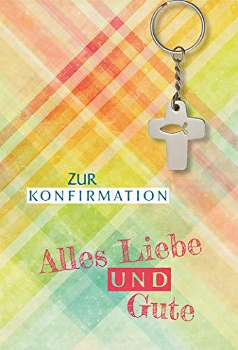 Butzon & Bercker Glückwunschkarte Konfirmation Kreuz Metall Schlüssel-Anhänger 5 St Kuvert Petrus Luther