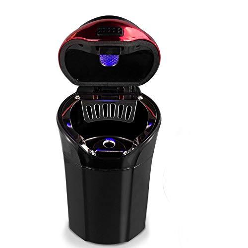 eJiasu Feuerzeug Aschenbecher Auto Set Abnehmbar, Auto Aschenbecher mit blauer LED-Lichtanzeige, Auto Aschenbecher mit Deckel für Auto, Haus, Büro und Reise
