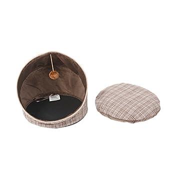 UKCOCO Panier pour Chat, Maisons et Dômes pour Chats, Abri pour Chat Premium Pliable avec Coussin Douillet et Balle de Jouet - 45 * 45 * 43 CM (Plaid Brun Clair)