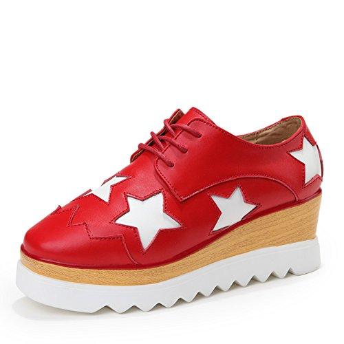 Carrée star-chaussures/Plate-forme avec des semelles épaisses chaussures femme/Chaussures plates/Chaussures de loisirs coréen/Chaussure en cuir pour les femmes A