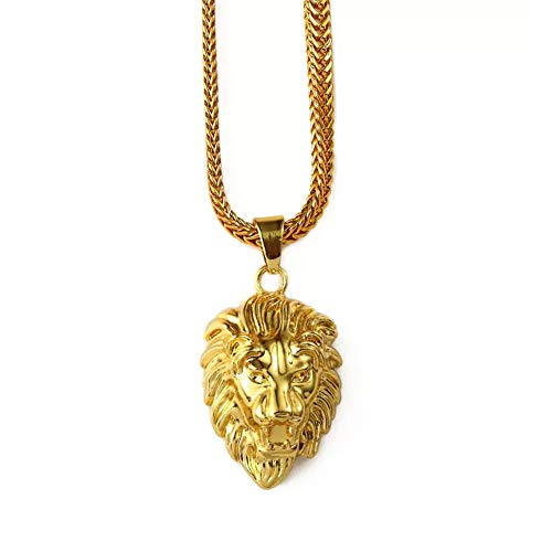 MESE London Herren Löwenkopf Halskette aus 18 Karat Gelbgold Überzogen mit 75 cm Länge (Head Kette Schmuck)