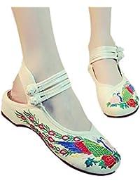Viejo Beijing Zapatos De Tela De Mujer con Sandalias Retro Viento Nacional Pavo Real Zapatos Bordados