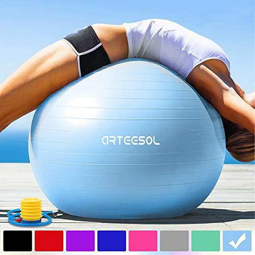 arteesol Balle Fitness 45cm/55cm/65 cm/75 cm Anti-éclatement Anti-dérapant Ballon de Yoga Swiss Ball Accouchement Balle Rapide Pompe Fitness Gym Pilates Core Training Thérapie Physique (Aqua, 75cm)