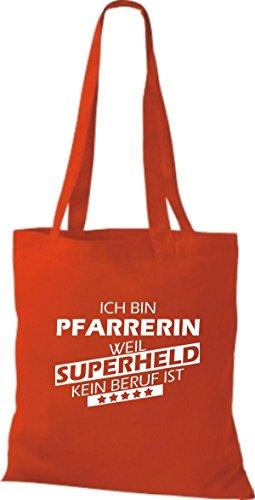 Shirtstown Sac en tissu Ich bin Révérend, parce que Superheld aucun Occupation est rouge