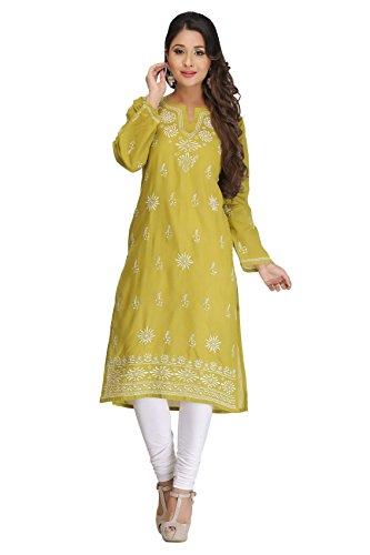 Lucknow Chikan Hand Embroidered Cotton Kurti Kurta Regular Wear by ADA A132470
