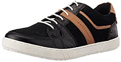Provogue Mens Black and Tan Leather Sneakers - 6UK/India (40 EU) (7 US)